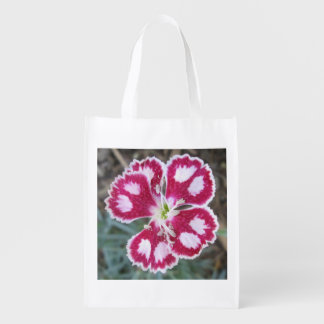 Dianthus Red White Flower Reusable Grocery Bag