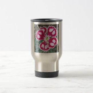 Dianthus Red White Flower Travel Mug