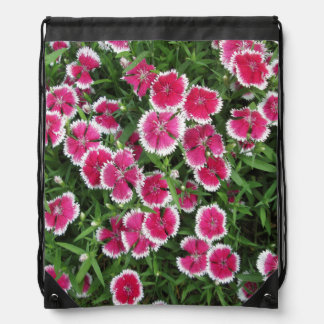 Dianthus White Pink Drawstring Bags