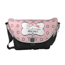 Diaper Bag - French Bow Dot Swirl Pattern Pink