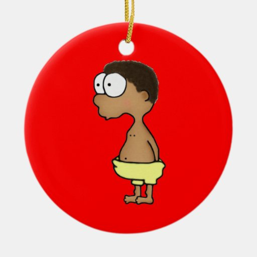 Diaper Boy Double-Sided Ceramic Round Christmas Ornament