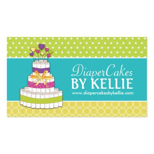 Diaper cake business cards business card templates for Cake business card ideas