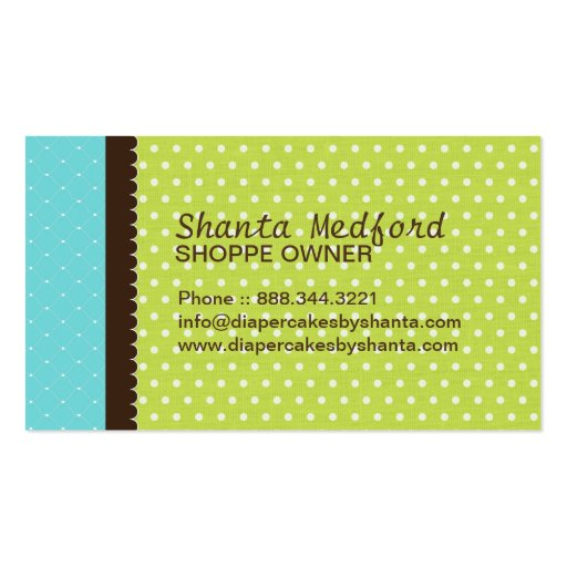 Diaper Cake Business Cards (back side)