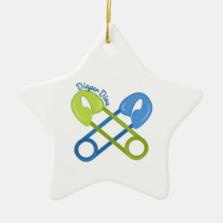 Diaper Diva Double-Sided Star Ceramic Christmas Ornament