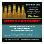 """Diaper Keg - Dadchelor Beer Party Invitations 5.25"""" Square Invitation Card"""