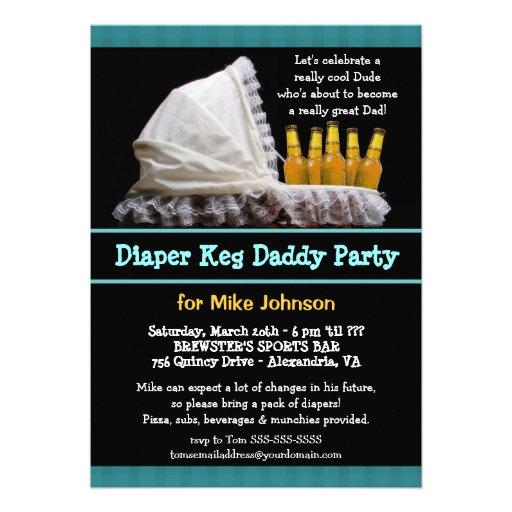 "Diaper Keg Invitations - Dadchelor Beer Party 5"" X 7"" Invitation Card | Zazzle"