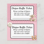 """Diaper Raffle Baby Shower Game, Pink Bow Shabby<br><div class=""""desc"""">Pink bow and lamb Diaper Raffle Baby Shower Game,  Coral pink</div>"""