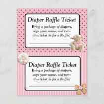 Diaper Raffle Baby Shower Game, Pink Bow Shabby