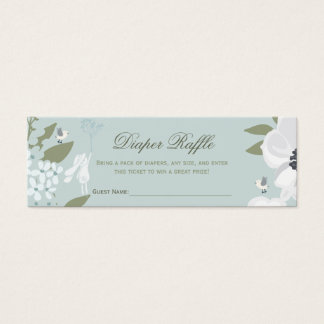 Diaper Raffle | Bunny Floral Wreath Boy Shower Mini Business Card