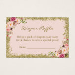 "Diaper Raffle Card Blush Pink Gold Glitter Floral<br><div class=""desc"">Just insert this Blush Pink Gold Glitter Floral - Diaper Raffle Ticket with the invitation inside the envelope so that your guests will know if they bring a package of diapers, they have a chance to win a special prize! It&#39;s a great way to kick off the fun at the...</div>"