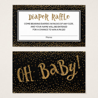 Diaper Raffle Cards with Gold Glitter Accents
