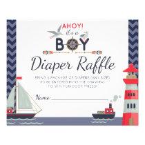 Diaper Raffle Nautical Sailboat Ahoy Baby Boy Game Flyer