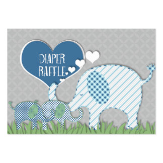 Diaper Raffle Registry Elephant Twins Baby Shower Large Business Card