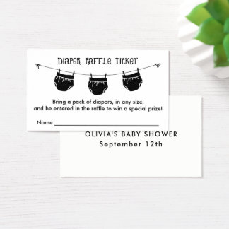 Diaper Raffle Ticket, Any Color Business Card
