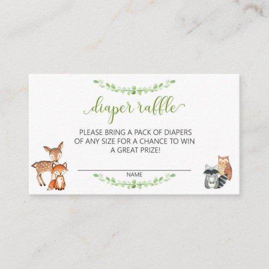 Diaper Raffle Ticket Baby Shower Woodland Greenery Enclosure Card