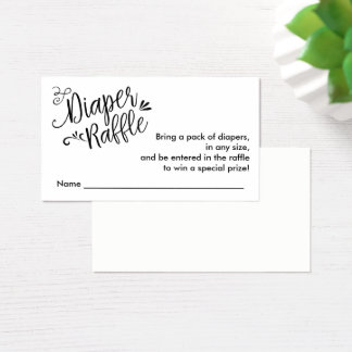 Diaper Raffle Ticket, Black Script | Custom Color Business Card