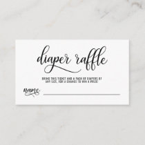 DIAPER RAFFLE Ticket black & white Baby Shower Enclosure Card