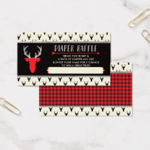 Diaper Raffle Ticket, Buffalo Plaid, Baby Shower Business Card