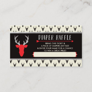 Diaper Raffle Ticket, Buffalo Plaid, Baby Shower Enclosure Card