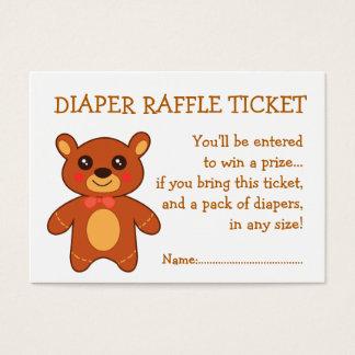 Diaper Raffle Ticket Cute Bear