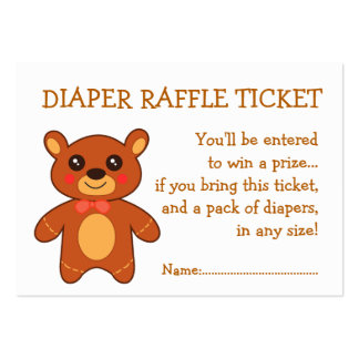 Diaper Raffle Ticket Cute Bear Large Business Cards (Pack Of 100)