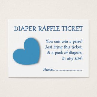 Diaper Raffle Ticket Cute Blue Heart for Baby Boy