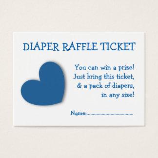 Diaper Raffle Ticket Cute Blue Heart for Boy