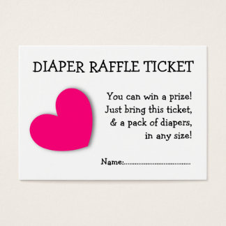 Diaper Raffle Ticket Cute Pink Heart for Baby Girl