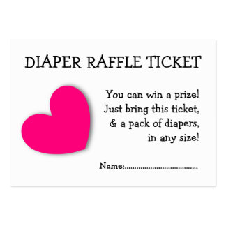 Diaper Raffle Ticket Cute Pink Heart for Baby Girl Large Business Card