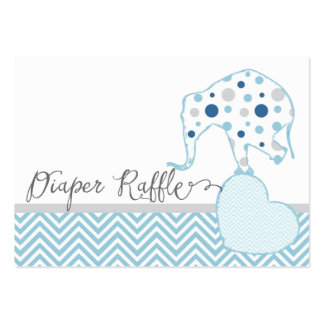 Diaper Raffle Ticket Elephant Heart Baby Shower Large Business Card