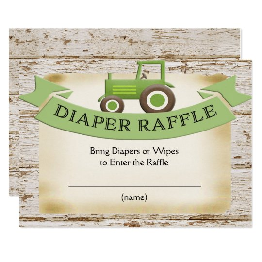 diaper raffle ticket - green tractor baby shower card | zazzle, Baby shower invitations