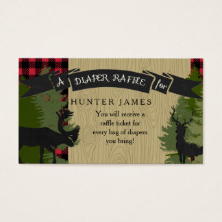Diaper Raffle Ticket Lumberjack Deer Antlers Boy