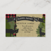Diaper Raffle Ticket Lumberjack Deer Antlers Boy Enclosure Card