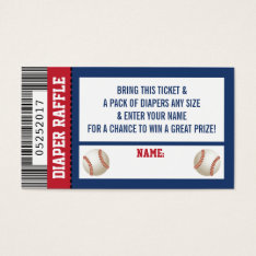 Diaper Raffle Ticket, Sports, Baseball Baby Shower Business Card at Zazzle