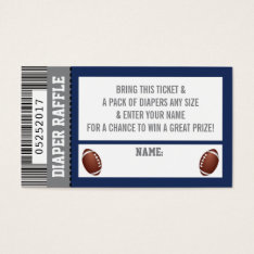 Diaper Raffle Ticket, Sports, Football Baby Shower Business Card at Zazzle