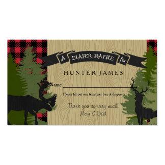 Diaper Raffle Ticket Woodland Deer Antler Baby Boy Business Card
