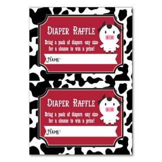 Diaper Raffle Tickets - 2 per card - Farm Animals