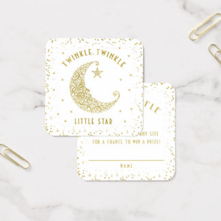 Diaper Raffle Twinkle Little Star Baby Shower Gold Square Business Card