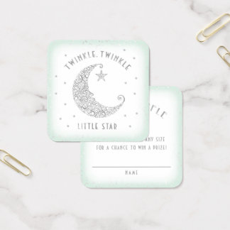 Diaper Raffle Twinkle Little Star Baby Shower Mint Square Business Card
