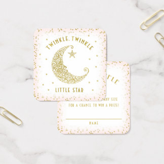Diaper Raffle Twinkle Little Star Baby Shower Pink Square Business Card