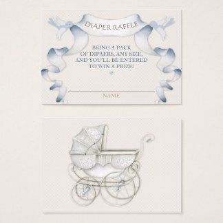 Diaper Raffle Vintage Carriage Ivory Blue Gingham Business Card