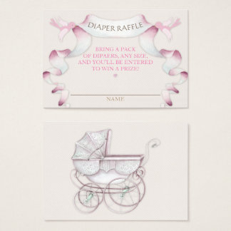 Diaper Raffle Vintage Carriage Ivory Pink Gingham Business Card
