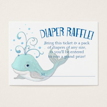 Beach Themed Diaper Raffle Whale Baby Shower Little Boy Blue Business Card