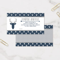 Diaper Raffle, Woodland Deer, Navy Blue, Silver Business Card