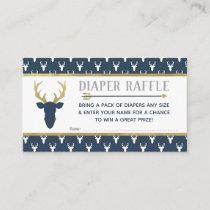 Diaper Raffle, Woodland Deer, Navy, Gray, Gold Enclosure Card