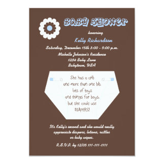 Diaper Second Baby Boy Shower Invitation