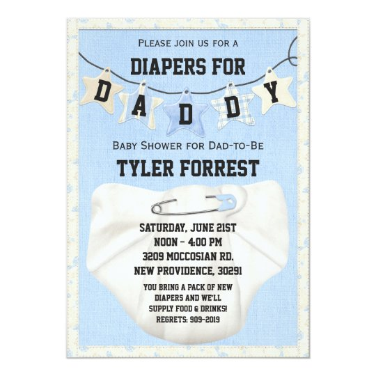Diapers for daddy baby shower invitation zazzle diapers for daddy baby shower invitation filmwisefo