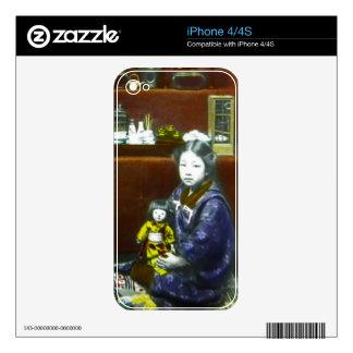 Diapositiva de linterna mágica japonesa del calcomanías para el iPhone 4