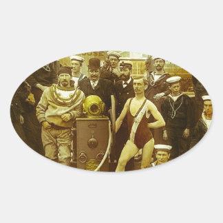 Diapositiva de linterna mágica naval real de la pegatina ovalada