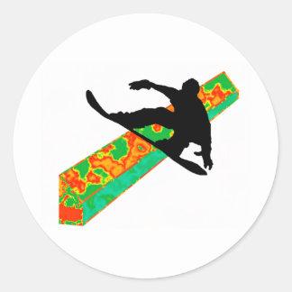 diapositiva siguiente de la snowboard etiqueta redonda